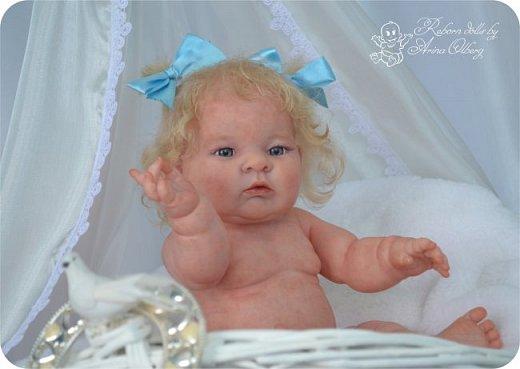 Здравствуйте, девочки-мастерицы!! Рада представить вашему вниманию малышку Лерочку. Рост куколки 35 см, вес около 1 кг. Расписана красками генезис, волосики-мохер, вживлены. фото 9