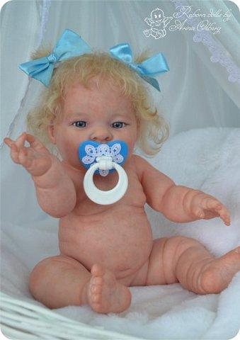 Здравствуйте, девочки-мастерицы!! Рада представить вашему вниманию малышку Лерочку. Рост куколки 35 см, вес около 1 кг. Расписана красками генезис, волосики-мохер, вживлены. фото 10