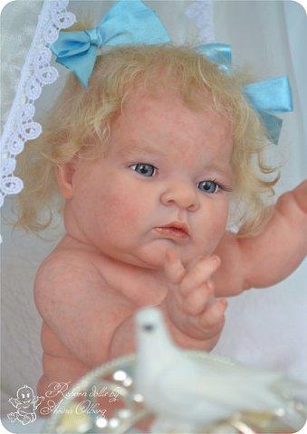 Здравствуйте, девочки-мастерицы!! Рада представить вашему вниманию малышку Лерочку. Рост куколки 35 см, вес около 1 кг. Расписана красками генезис, волосики-мохер, вживлены. фото 12