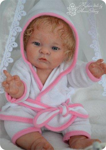 Здравствуйте, девочки-мастерицы!! Рада представить вашему вниманию малышку Лерочку. Рост куколки 35 см, вес около 1 кг. Расписана красками генезис, волосики-мохер, вживлены. фото 19