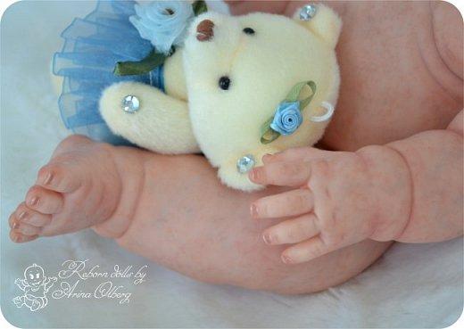Здравствуйте, девочки-мастерицы!! Рада представить вашему вниманию малышку Лерочку. Рост куколки 35 см, вес около 1 кг. Расписана красками генезис, волосики-мохер, вживлены. фото 24