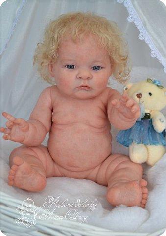 Здравствуйте, девочки-мастерицы!! Рада представить вашему вниманию малышку Лерочку. Рост куколки 35 см, вес около 1 кг. Расписана красками генезис, волосики-мохер, вживлены. фото 3