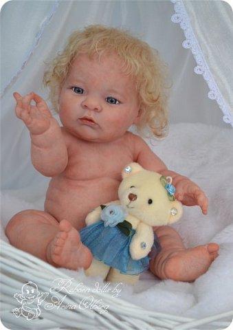 Здравствуйте, девочки-мастерицы!! Рада представить вашему вниманию малышку Лерочку. Рост куколки 35 см, вес около 1 кг. Расписана красками генезис, волосики-мохер, вживлены. фото 4