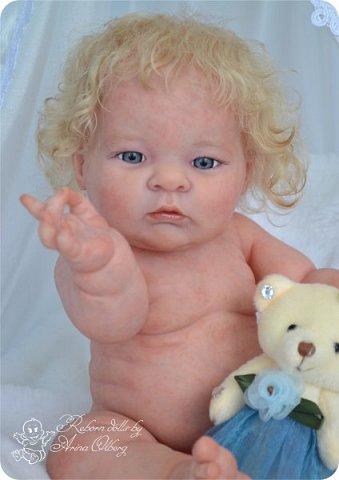 Здравствуйте, девочки-мастерицы!! Рада представить вашему вниманию малышку Лерочку. Рост куколки 35 см, вес около 1 кг. Расписана красками генезис, волосики-мохер, вживлены. фото 5
