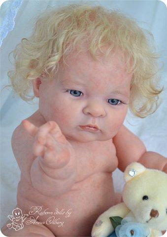 Здравствуйте, девочки-мастерицы!! Рада представить вашему вниманию малышку Лерочку. Рост куколки 35 см, вес около 1 кг. Расписана красками генезис, волосики-мохер, вживлены. фото 6