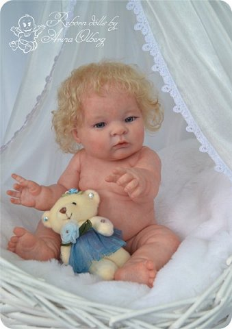 Здравствуйте, девочки-мастерицы!! Рада представить вашему вниманию малышку Лерочку. Рост куколки 35 см, вес около 1 кг. Расписана красками генезис, волосики-мохер, вживлены. фото 7