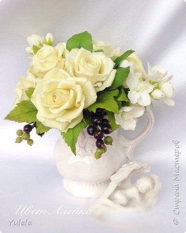 """Здравствуйте! Такой букет заказали на юбилей свадьбы. Для """"молодых"""" посылка была сюрпризом. Переживали с заказчицей, понравиться ли подарок. Вроде не подвела я. Делала повтор работы Чайные розы. фото 1"""