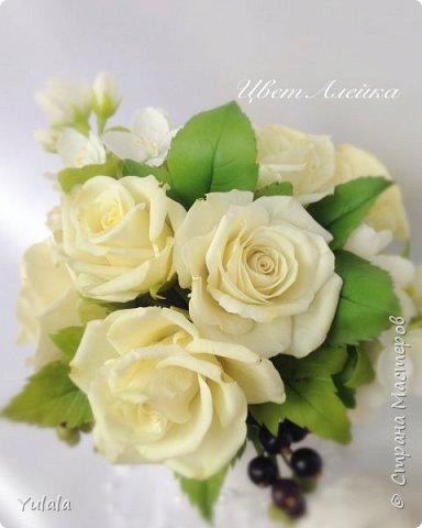 """Здравствуйте! Такой букет заказали на юбилей свадьбы. Для """"молодых"""" посылка была сюрпризом. Переживали с заказчицей, понравиться ли подарок. Вроде не подвела я. Делала повтор работы Чайные розы. фото 2"""