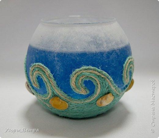 """Когда в 2 часа ночи тебе не дает покоя мысль - """"А можно ли покрасить свечной гель?"""" - получается это...  Свеча в греческом стиле и морской теме.  фото 1"""