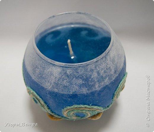 """Когда в 2 часа ночи тебе не дает покоя мысль - """"А можно ли покрасить свечной гель?"""" - получается это...  Свеча в греческом стиле и морской теме.  фото 2"""