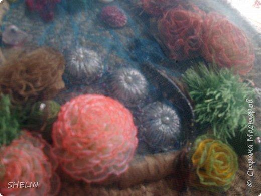 Сумочка из атласных лент крючком 38х30х8 см Внутри 3 кармашка один из которых на застёжке молнии  Я долго думала, как сделать именно подводный мир - вот что получилось... фото 4
