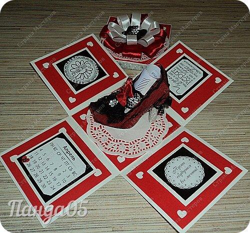 """Поступил мне заказ на очередную красную туфельку.приглянулись они почему то женщинам))) На этот раз Magic Box к тридцатилетнему юбилею невестки. Пожелание было одно - красный цвет...Но уже 2 красные я делала,неинтересно))) Решила добавить черного для разнообразия.Ведь сочетание белое-красное-черное это известная классика..Название коробочки дала по Стендалю - """"Красное и черное"""")) фото 6"""
