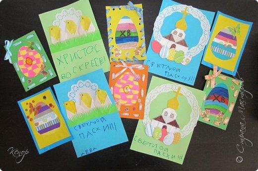 Всем добрый день!!!! У нас полным ходом идёт подготовка к Пасхе. Хотим  показать вам , как мы делаем пасхальные открыточки. фото 18