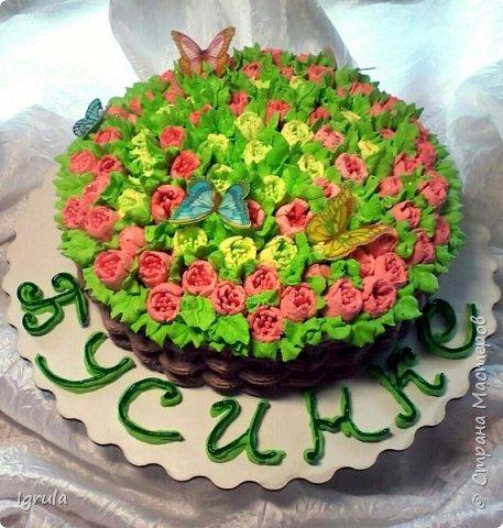 """Всем привет, кто заглянул.. Месяц был богат тортами для своих.. А свои уже мастики наелись так, что осваиваем крем потихоньку (бросайте в меня камни не сильно) Первый тортик был на день рождения свёкра.. Людей намечалось много... Вот и тортик такой... Не маленький Вес 9кг. Внутри """"тропиканка"""" (http://stranamasterov.ru/node/788418) фото 14"""