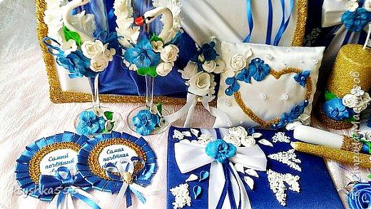 Очаровательный набор в бело-сине-золотой гамме  фото 4