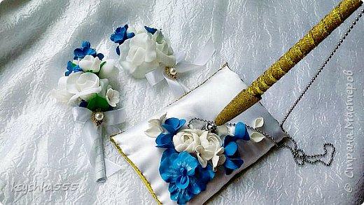 Очаровательный набор в бело-сине-золотой гамме  фото 1