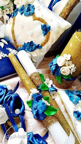 Очаровательный набор в бело-сине-золотой гамме  фото 5