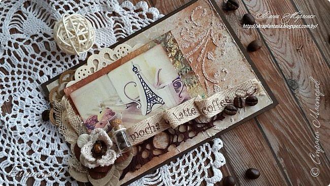 И снова здравствуйте)) Я хочу показать вам вот такую арома-открытку, настоящую оду кофе!  О-о-о! Кофе!! Любите ли его ВЫ, как люблю его я ??))  Я его просто обожаю и  даже устроила фотосессию для неё и сделала мини-МК её изготовления, чтобы показать где же хранится волшебный аромат кофейного напитка.Правда в этот раз слов будет мало,  а фото много!  Хотя если честно, кофе надо пить, а не смотреть и читать)))  фото 9