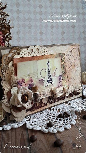 И снова здравствуйте)) Я хочу показать вам вот такую арома-открытку, настоящую оду кофе!  О-о-о! Кофе!! Любите ли его ВЫ, как люблю его я ??))  Я его просто обожаю и  даже устроила фотосессию для неё и сделала мини-МК её изготовления, чтобы показать где же хранится волшебный аромат кофейного напитка.Правда в этот раз слов будет мало,  а фото много!  Хотя если честно, кофе надо пить, а не смотреть и читать)))  фото 10