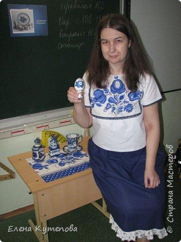 Сегодня я провела еще одно занятие про русские народные промыслы - о гжельской керамике.