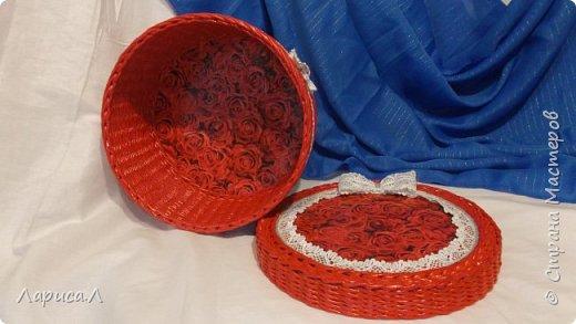 Корзинка для хлеба. Плетение из бумажной лозы. Диаметр 21,5 см, высота 5,5 см. фото 5