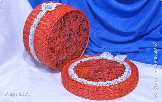 Корзинка для хлеба. Плетение из бумажной лозы. Диаметр 21,5 см, высота 5,5 см. фото 4