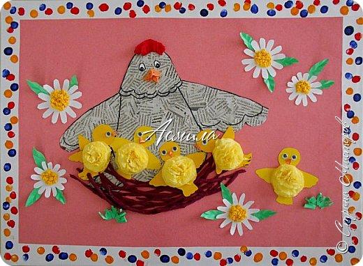 Такую курочку-пеструшку с цыплятами мы сделали с малышами.  фото 1