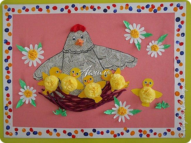 Такую курочку-пеструшку с цыплятами мы сделали с малышами.  фото 16