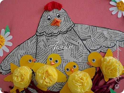 Такую курочку-пеструшку с цыплятами мы сделали с малышами.  фото 2