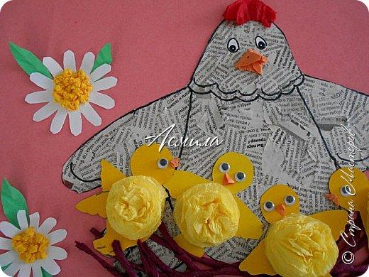 Такую курочку-пеструшку с цыплятами мы сделали с малышами.  фото 15