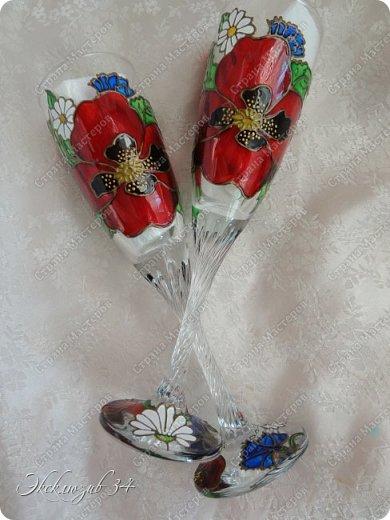 """Пара фужеров """"Полевые цветы"""". Яркие и шикарные. Они всегда будут напоминать о солнечном лете. фото 1"""