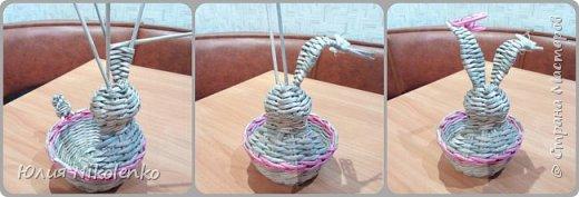 Здравствуйте жители Страны мастеров. Сегодня я решила показать вам как я плету Пасхального зайчика. фото 14