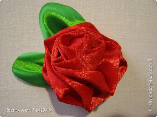 Роза из цельной атласной ленты фото 3