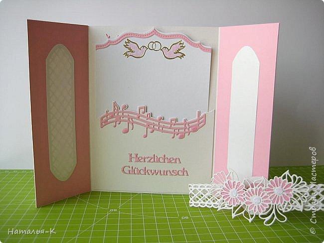 Добрый вечер, (или ночь),  дорогие жители Страны Мастеров!!! Сегодня у меня открытка на свадьбу. Обратились за два дня до свадьбы... была в растерянности... успею ли...   Посмотрела свои альбомы с работами, и нашла что эта подойдёт для свадьбы.  Такую уже делала для дочки на день рождения.   http://stranamasterov.ru/node/992229 фото 5