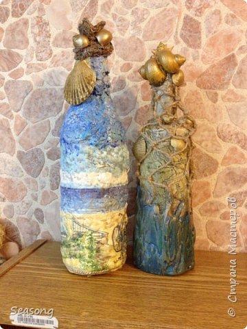 Снова морская тема. Две бутылочки - сестрички. Эх....на море бы махнуть :) фото 7