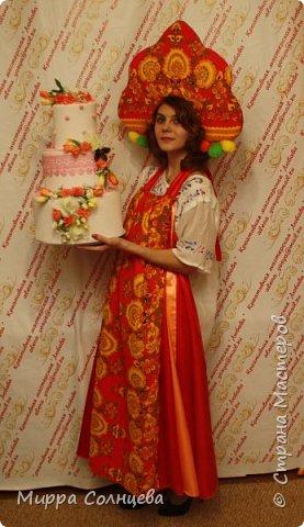 наборы Русский стиль  ( сарафан-фартук, кокошник) фото 1