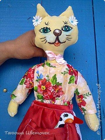 Кошка пакетница Яблонька. в кармашке гусь. Пожелание добра и благополучия. фото 1