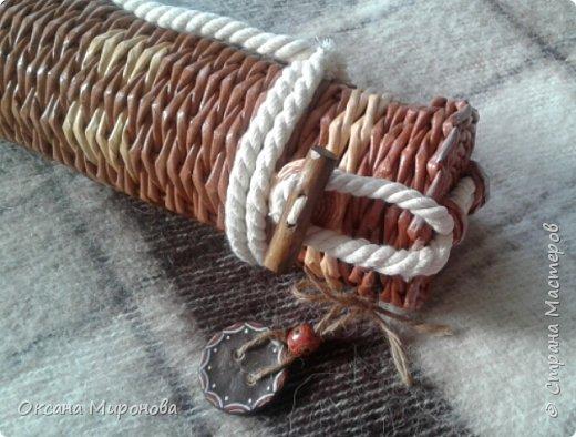 Здравствуйте жители страны мастеров, вот такой тубус под шампуры у меня получился, подарок брату, идею подглядела в инете и вот что получилось) фото 2