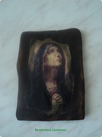 Сделала вот такую икону.Вдохновилась работами Оли Гаспарян http://stranamasterov.ru/user/347373 Долго собиралась с духом и мыслями.Сходила в церковь и освятила ее,а дома натерла маслицем церковным. фото 2