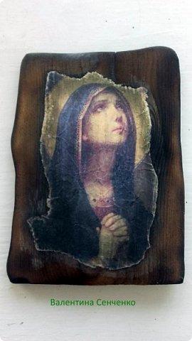 Сделала вот такую икону.Вдохновилась работами Оли Гаспарян http://stranamasterov.ru/user/347373 Долго собиралась с духом и мыслями.Сходила в церковь и освятила ее,а дома натерла маслицем церковным. фото 3