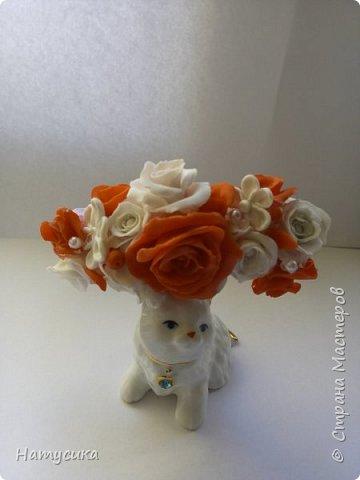 Делала на подарок для девочки ободок. Цветы сделаны из полимерной глины фото 1