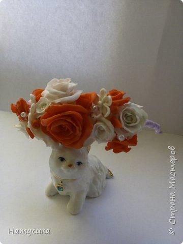 Делала на подарок для девочки ободок. Цветы сделаны из полимерной глины фото 2