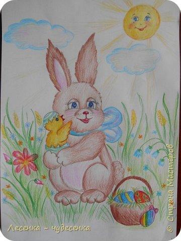 """Всем привет ! Я сдаю работу на конкурс """" Светлая Пасха """".(2 номинация :"""" Пасхальный кролик """"). фото 1"""