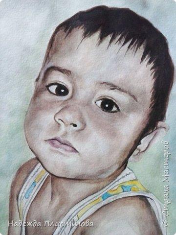 Портрет племянника для братишки. Акварель. Формат А3 фото 2