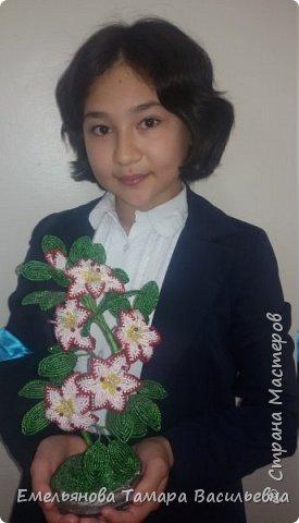 Фантазийный цветок из бисера фото 2