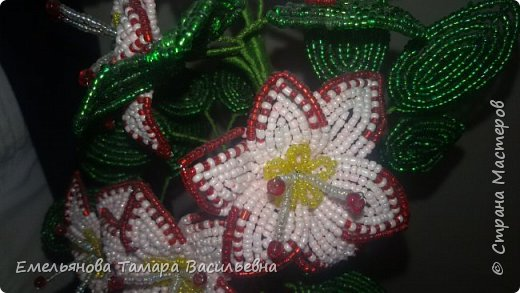 Фантазийный цветок из бисера фото 9