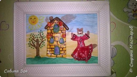 Картина создавалась для школьного конкурса. Уголок рамы сверху ребёнок сломал в портфеле, когда нёс поделку в школу. фото 1