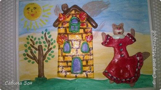 Картина создавалась для школьного конкурса. Уголок рамы сверху ребёнок сломал в портфеле, когда нёс поделку в школу. фото 5