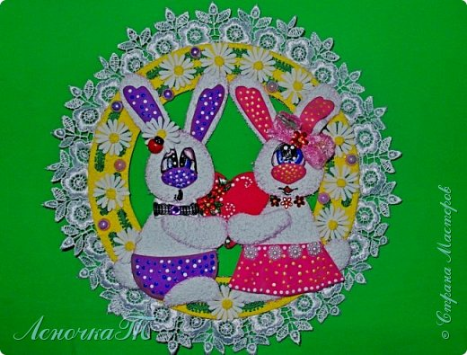 """Этих  милых  заек  я сделала по МК  Ольги Зайцевой. Только Оля показывала работу с пасхальными   мотивами, а мне  захотелось сердечных отношений! И  использовала я в своей работе   фоамиран """"Плюш"""".  фото 1"""