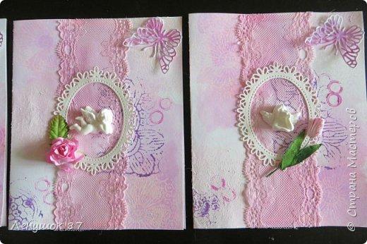 Всем привет! Вот решила сделать небольшой МК . Открытка-(ее слепила из того, что было). 1) Акварельная бумага, 2) акварель 3) куоче старой скатерти 4) губка 5) вырубка(рамка, бабочка), 6) клей 7) кружево 8) цветы бумажные..   фото 1